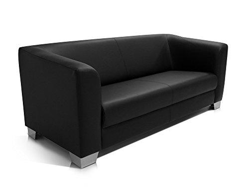 chicago 3er sofa ledersofa schwarz wohnlandschaft g nstig kaufen. Black Bedroom Furniture Sets. Home Design Ideas