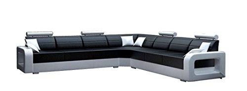 JVmöbel Weiß/Schwarz Sofa Lederimitat, 200 x 85 x 85 cm