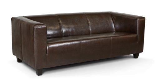 B-famous 3-Sitzer Sofa Kuba 186 x 88 cm, Glanzleder, braun