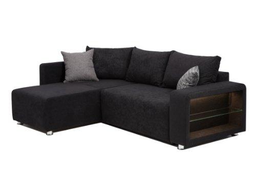 b famous polsterecke bremen led federkern schenkelma 226 x 162 cm mikrofaser schwarz. Black Bedroom Furniture Sets. Home Design Ideas