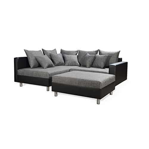 ecksofa eckcouch funktionsecke juri mit hocker schwarz grau ottomane links kunstleder und. Black Bedroom Furniture Sets. Home Design Ideas