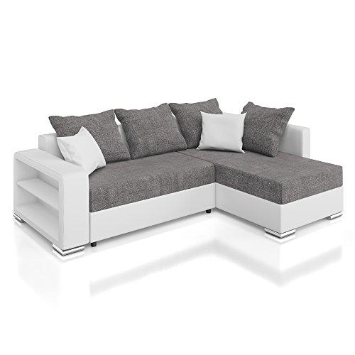 Vicco Sofa Couch Polsterecke Houston Ecksofa Schlaffunktion Schlafsofa weiß/grau
