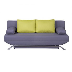Schlafsofa Schlafcouch Sofa Couch LEVI, in grau mit grünen Kissen, Metallfüße in Chrom, 2-Sitzer, Schlaffunktion und Bettkasten