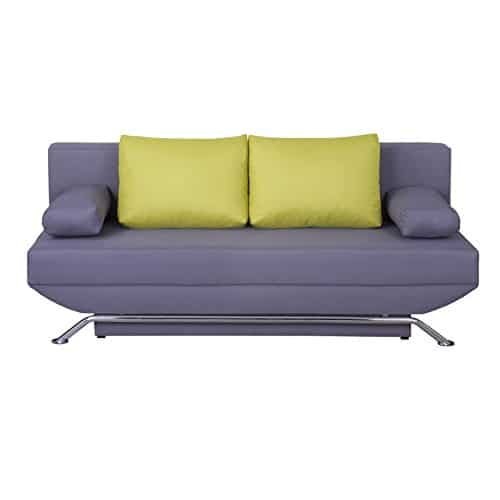 schlafsofa schlafcouch sofa couch levi in grau mit gr nen kissen metallf e in chrom 2 sitzer. Black Bedroom Furniture Sets. Home Design Ideas