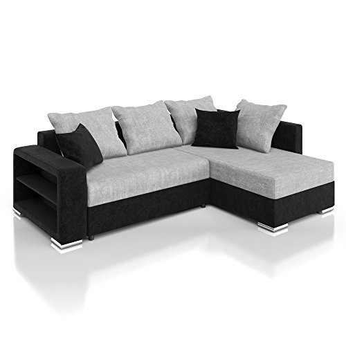 vicco sofa couch ecksofa houston schlaffunktion schlafsofa schwarz grau eckcouch. Black Bedroom Furniture Sets. Home Design Ideas