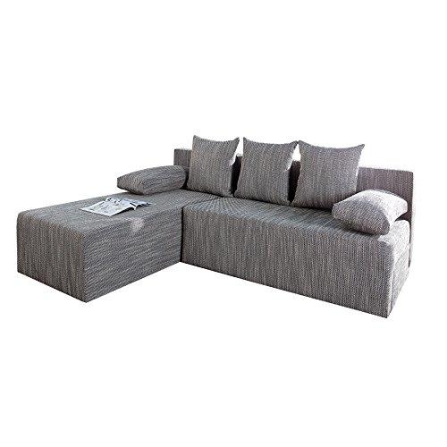 Design Ecksofa CUBUS Strukturstoff hellgrau mit Schlaffunktion und Bettkasten