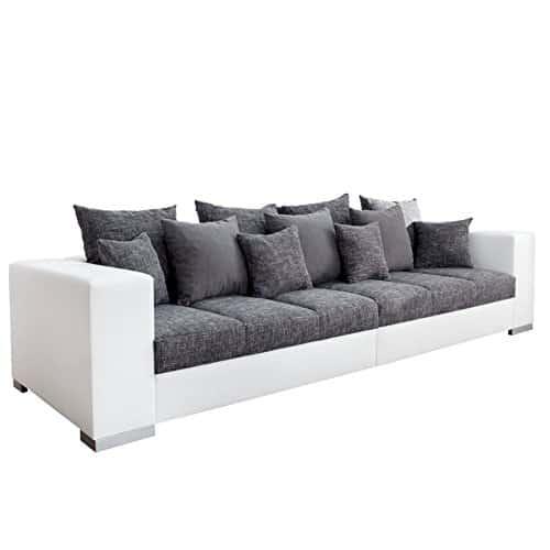Design XXL Sofa BIG SOFA ISLAND in weiß grau charcoal Strukturstoff inkl. Kissen