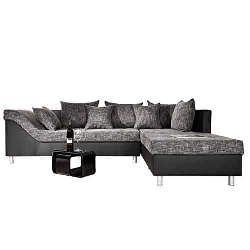 gro es ecksofa sultan schwarz strukturstoff schwarz ot rechts wohnlandschaft g nstig kaufen. Black Bedroom Furniture Sets. Home Design Ideas