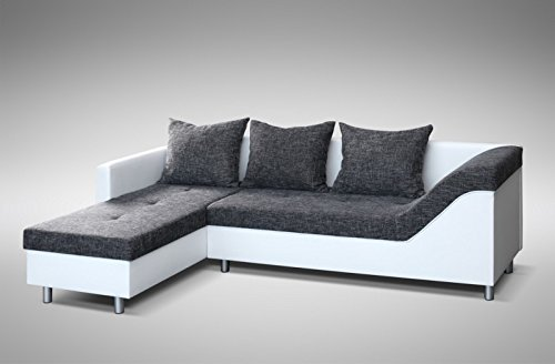 sofa couch ecksofa eckcouch sofagarnitur in weiss graubraun lissabon 2 l wohnlandschaft. Black Bedroom Furniture Sets. Home Design Ideas