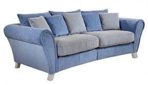 Cavadore 514 Big Sofa Calianne, 257 x 85 x 120 cm, Spectra weiß / blau, Martha hellblau