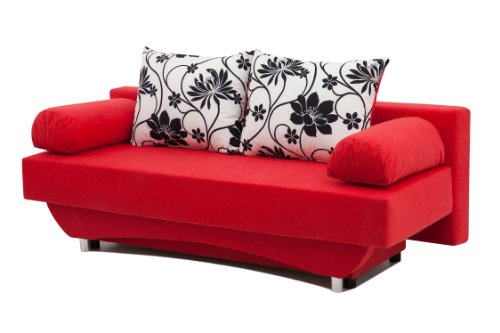 schlafsofa queens 186 x 80 cm mikrofaser rot. Black Bedroom Furniture Sets. Home Design Ideas