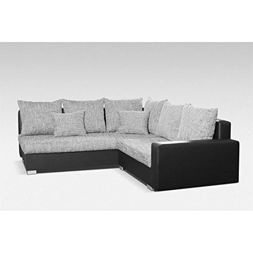 ecksofa eckcouch lexi schwarz grau ottomane links inkl. Black Bedroom Furniture Sets. Home Design Ideas