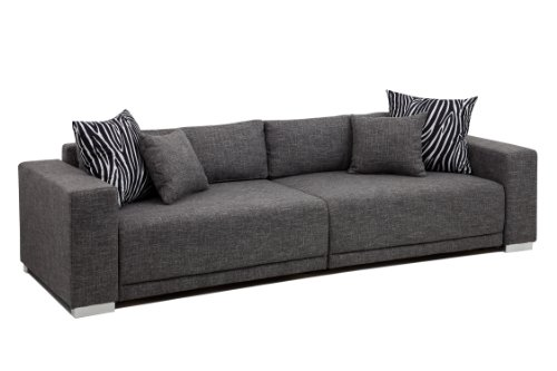 B famous big sofa london xxl struktur grau 287x103 cm for Rundsofa mit schlaffunktion