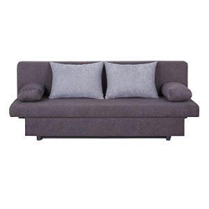 Schlafsofa Schlafcouch 2-Sitzer Sofa ZOE, anthrazit/hellgrau, mit Bettkasten und Kissen, Microfaserbezug