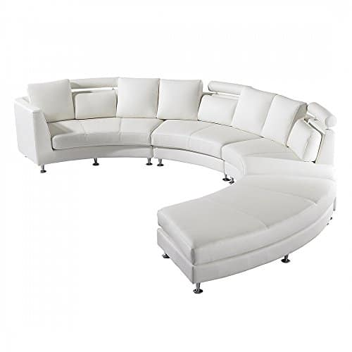 Ledersofa - rundes Sofa - Ledercouch - Couch aus Leder in weiss - ROTUNDE