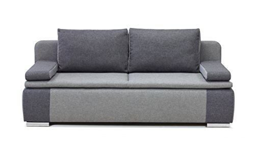 b famous 100620 lina dauerschl fer sofa feiner strukturstoff 87 x 201 x 88 cm grau hellgrau. Black Bedroom Furniture Sets. Home Design Ideas