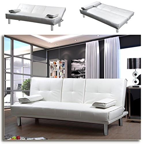 manhattan funktionssofa weiss schlafsofa sofa kunstleder bettsofa lounge couch. Black Bedroom Furniture Sets. Home Design Ideas