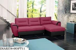 ECKSOFA Couch mit Schlaffunktion Eckcouch Polstergarnitur Wohnlandschaft - TOM