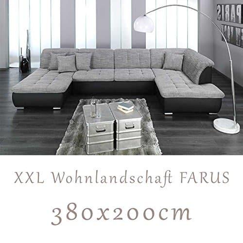 Wohnlandschaft Couchgarnitur Xxl Sofa U Form Schwarz Grau