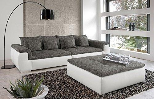 Big-Sofa in weiß/ grau mit Steppungen, 4 große Rückenkissen, 4 mittlere und 4 kleine Zierkissen, Maße: B/H/T ca. 312/86/133 cm