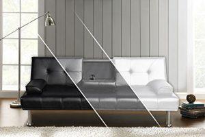 Sofa DUBAI Schlafsofa Klappsofa Kunstleder Couch Schlafcouch Klappcouch Garnitur (Schwarz)