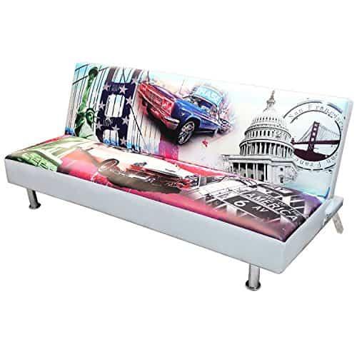 Moderne Schlafcouch für Kinderzimmer und Jugendzimmer 179x100cm Modell-USA Schlafsofa Bettsofa Bettcouch Gästebett Gästezimmer