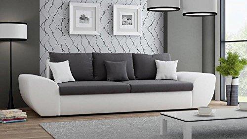 Big Sofa mit Schlaffunktion und Bettkasten in weiß Sitzfläche in anthrazit Rückenecht bezogen mit Wellenfederpolsterung, B/H/T ca. 272/90/96 cm