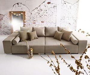 Bigsofa Marbeya Grau Braun 280 x 115 cm mit Zierkissen XXL Sofa