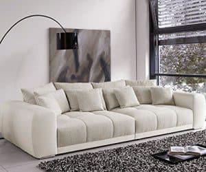 Bigsofa Valeska Grau Weiss Couch 310 x 135 cm mit 12 Kissen Big-Sofa
