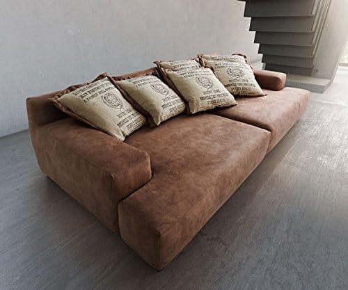 bigsofa cabana braun 304x140 vintage inkl 6 kissen by ultsch big sofa wohnlandschaft g nstig. Black Bedroom Furniture Sets. Home Design Ideas