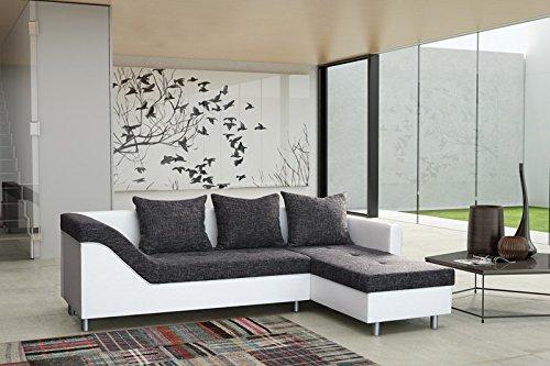 Sofa Couch Ecksofa Eckcouch Sofagarnitur in weiss / graubraun - Lissabon 2- R