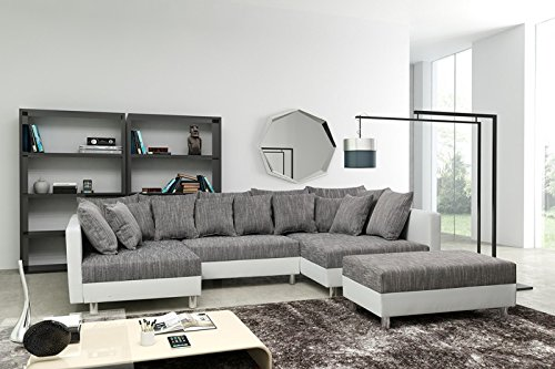 Sofa Couch Ecksofa Eckcouch in weiss / hellgrau Eckcouch mit Hocker - Minsk XXL