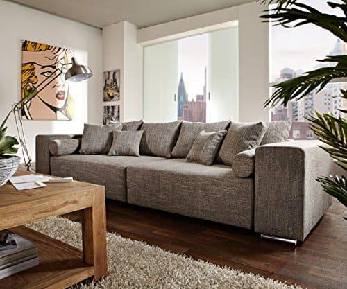 Couch Marbeya Hellgrau 290 x 110cm mit Schlaffunktion Big-Sofa