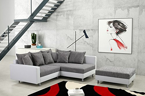modernes sofa couch ecksofa eckcouch in weiss eckcouch mit hocker minsk r wohnlandschaft. Black Bedroom Furniture Sets. Home Design Ideas