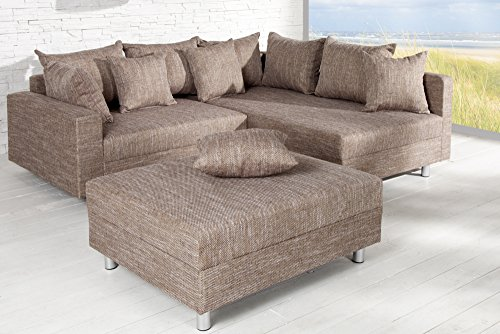 Design Ecksofa mit Hocker LOFT Strukturstoff cappucino Federkern Sofa OT beidseitig aufbaubar