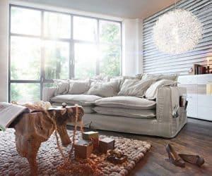 Big Sofa Noelia Elfenbeinfarben 240 x 145 cm mit Kissen Hussensofa