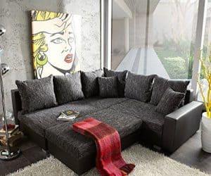Couch Lavello Grau Schwarz 210 x 210 Ottomane Links mit Hocker Ecksofa