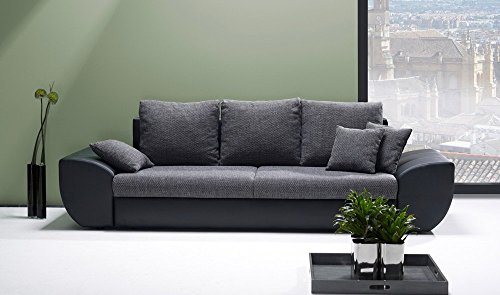 big sofa mit schlaffunktion und bettkasten in schwarz grau r ckenecht bezogen mit. Black Bedroom Furniture Sets. Home Design Ideas