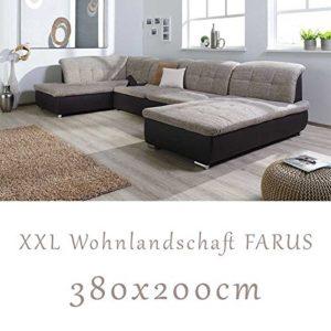 Wohnlandschaft, Couchgarnitur XXL Sofa, U-Form, braun/cappuccino, Ottomane links