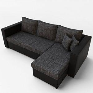 Ecksofa mit Schlaffunktion Sofa Couch Schlafsofa Polsterecke Bettfunktion Schwarz Grau