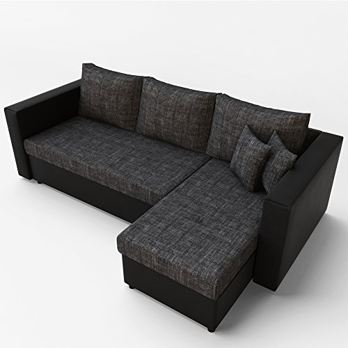 ecksofa mit schlaffunktion sofa couch schlafsofa polsterecke bettfunktion schwarz grau. Black Bedroom Furniture Sets. Home Design Ideas